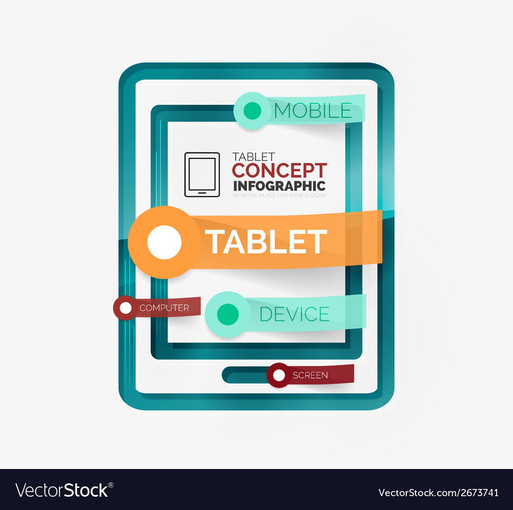 Tablet infographic scheme with tags vector | Price: 1 Credit (USD $1)