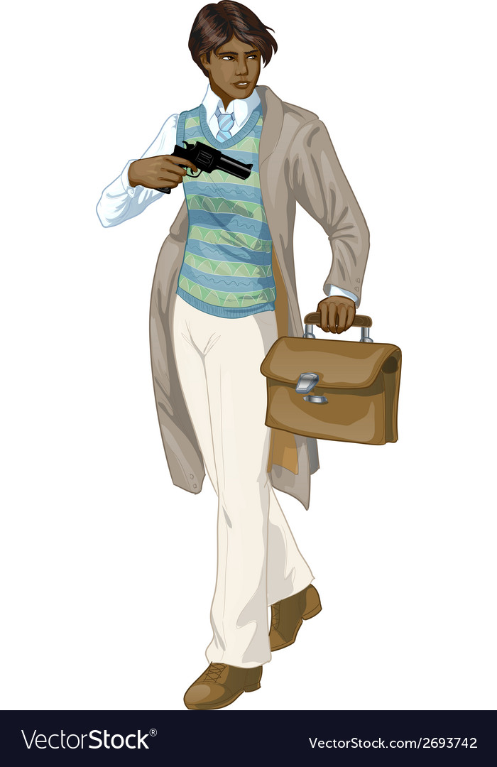 Afroamerican retro boy with a gun cartoon vector | Price: 1 Credit (USD $1)