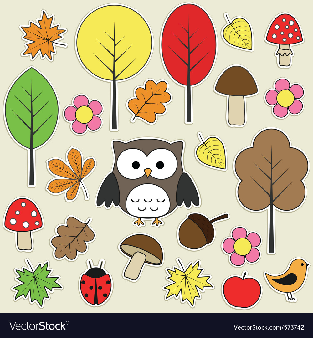 Autumnal stickers vector | Price: 1 Credit (USD $1)