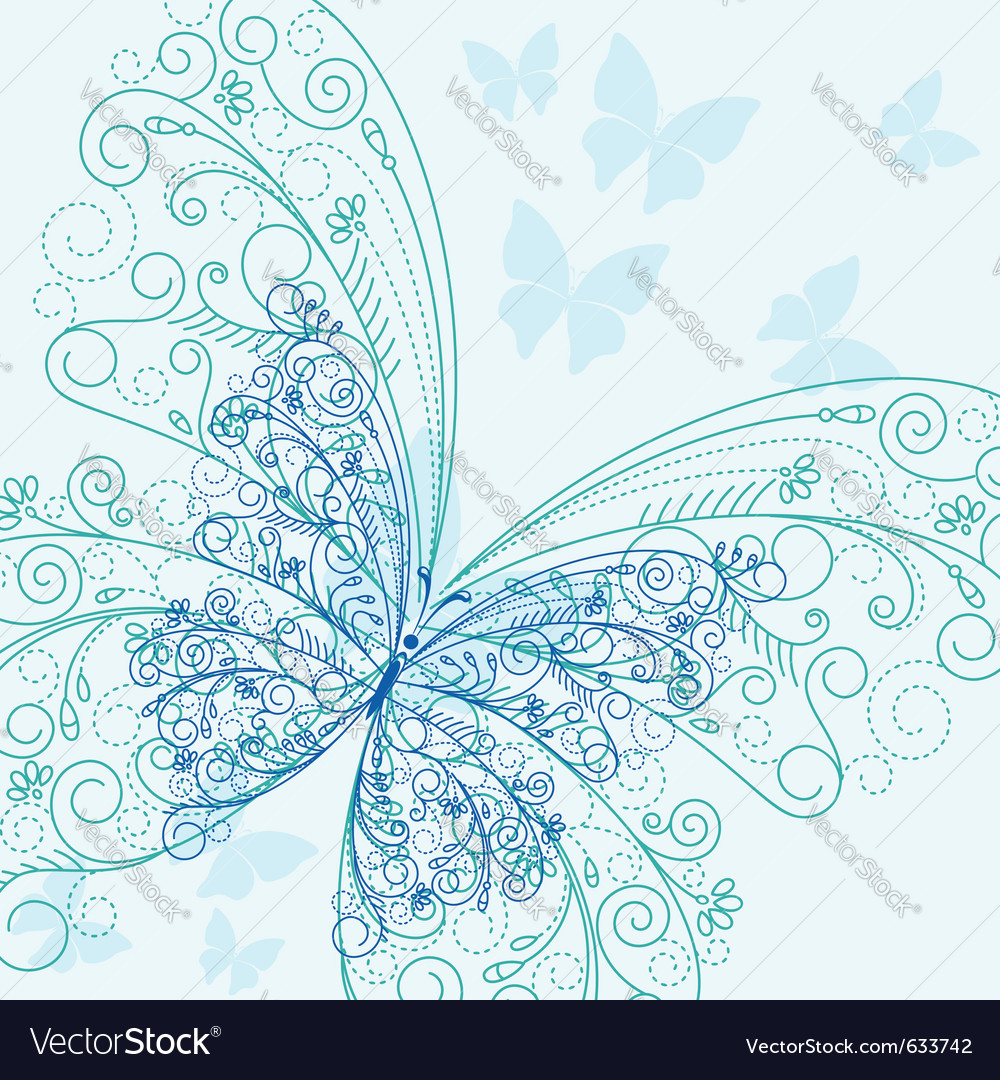 Beautiful blue butterflyes in flourish style for i vector | Price: 1 Credit (USD $1)