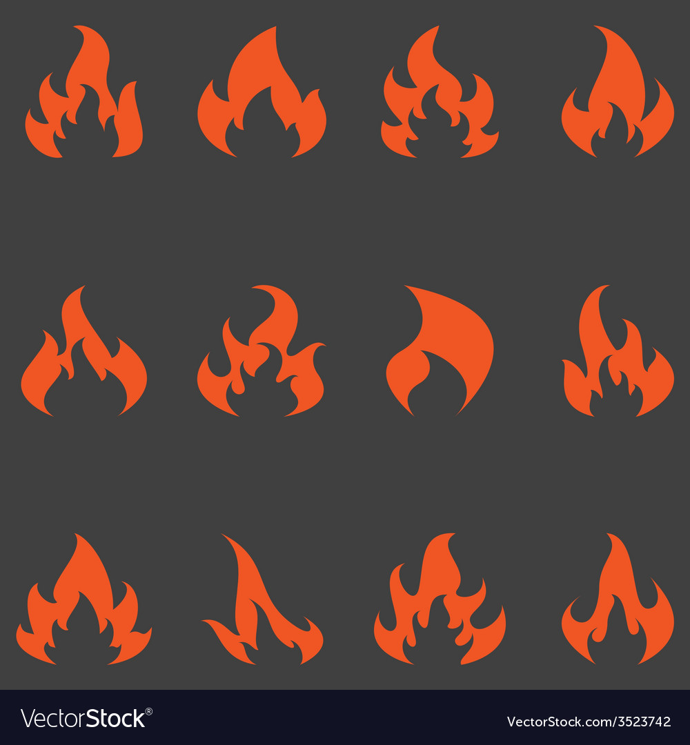 Flame set of icons vector | Price: 1 Credit (USD $1)