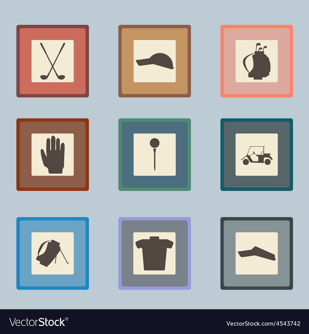 Golf sport items silhouette icon set driver vector | Price: 1 Credit (USD $1)