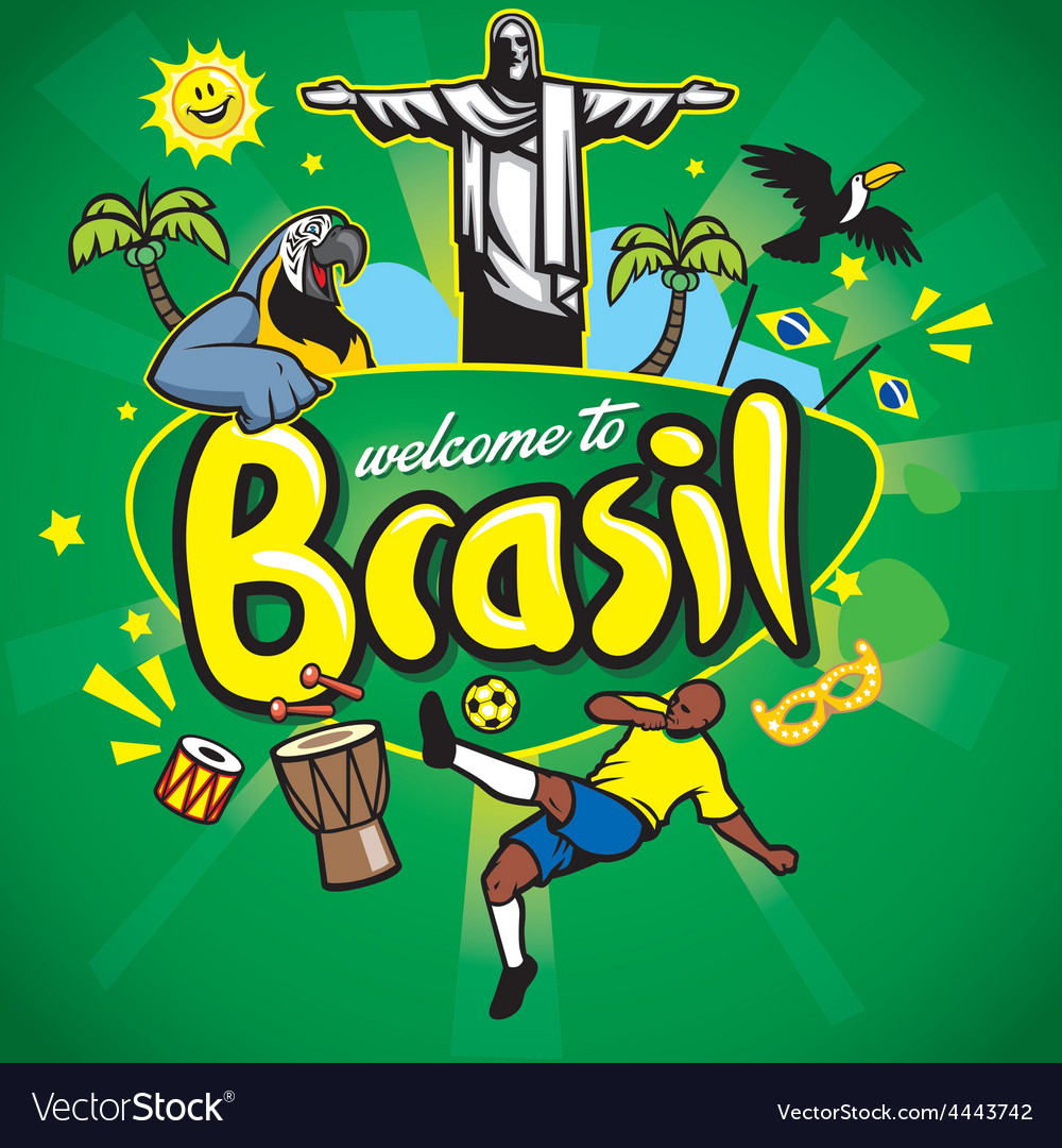 Greeting series welcome to brasil vector | Price: 1 Credit (USD $1)
