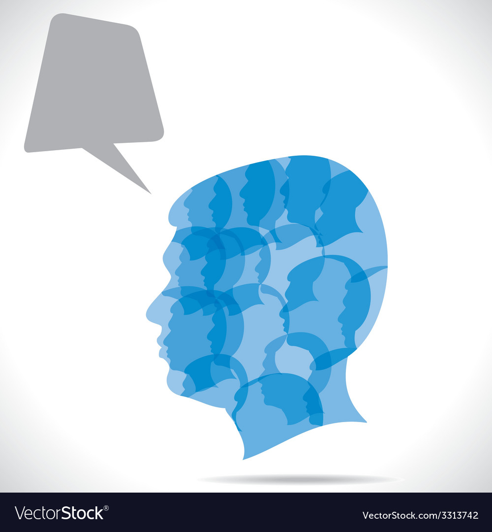Group of people in human head vector | Price: 1 Credit (USD $1)
