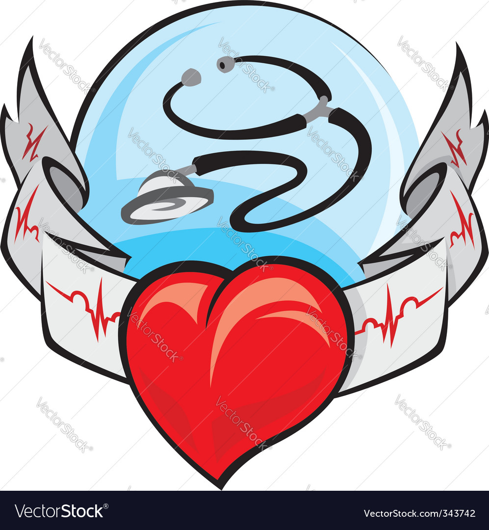 Heart and cardiogram vector | Price: 1 Credit (USD $1)