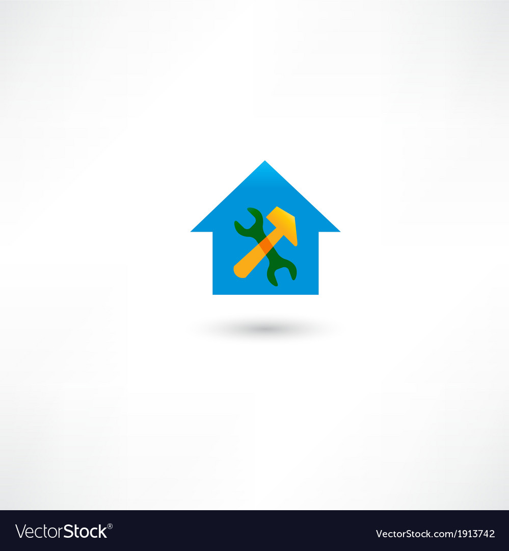 Repairing a house blue icon vector | Price: 1 Credit (USD $1)