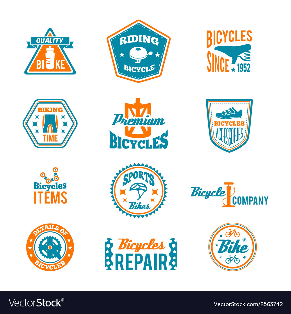 Set of bicycling label vector | Price: 1 Credit (USD $1)