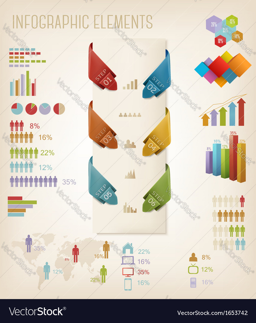 Set of info graphics elements vector | Price: 1 Credit (USD $1)