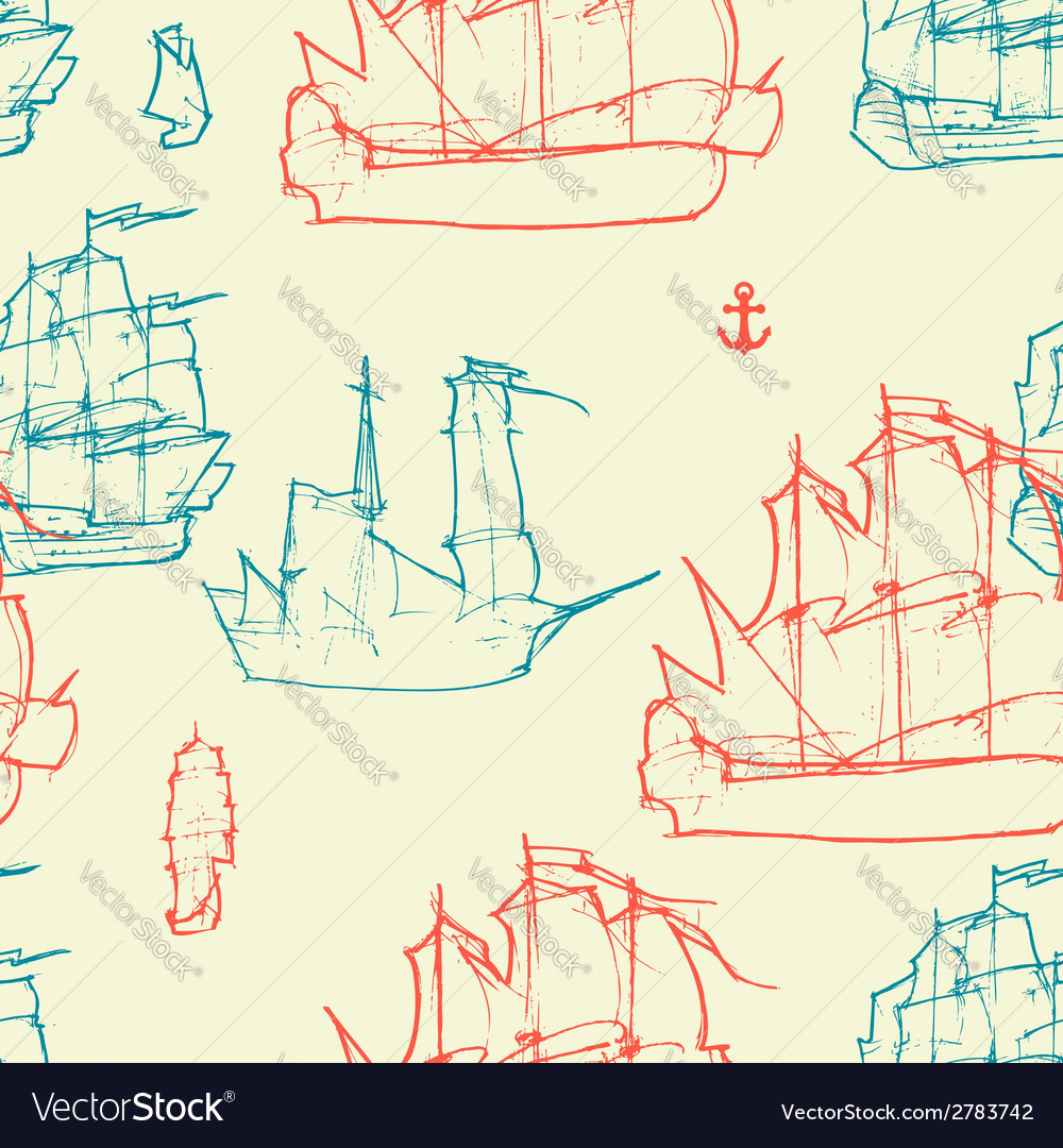 Vintage ships pattern vector | Price: 1 Credit (USD $1)