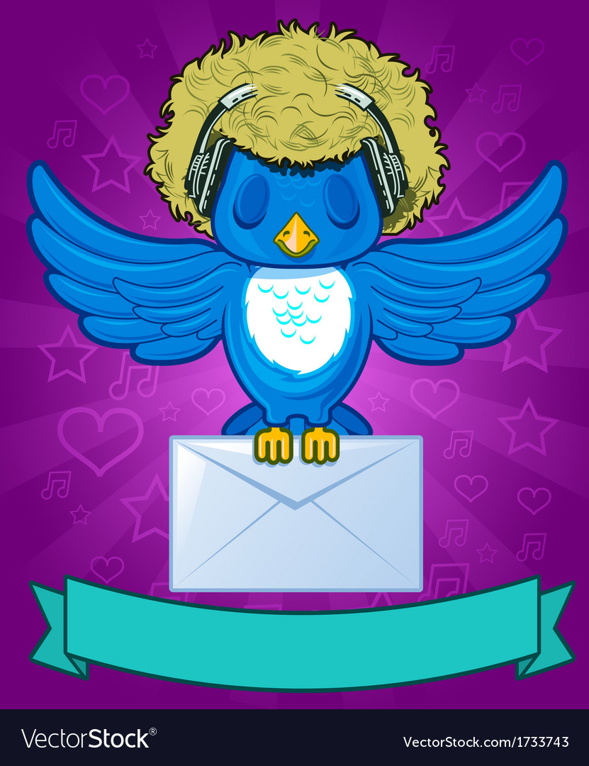 Bird with messages vector | Price: 1 Credit (USD $1)