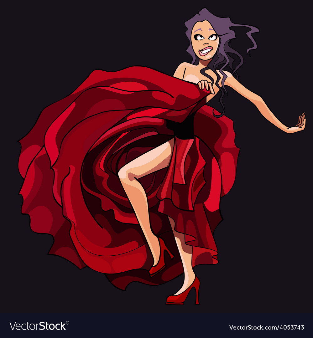Cartoon girl is dancing in a red dress vector | Price: 3 Credit (USD $3)
