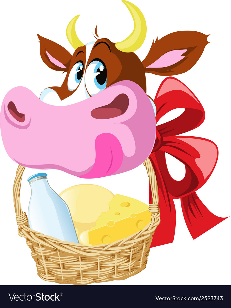 Cow holding basket vector | Price: 1 Credit (USD $1)