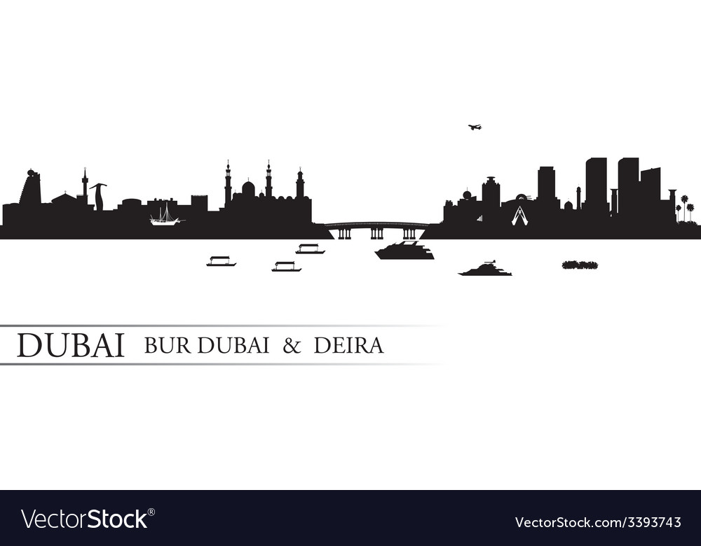 Dubai deira and bur dubai skyline silhouette vector | Price: 1 Credit (USD $1)