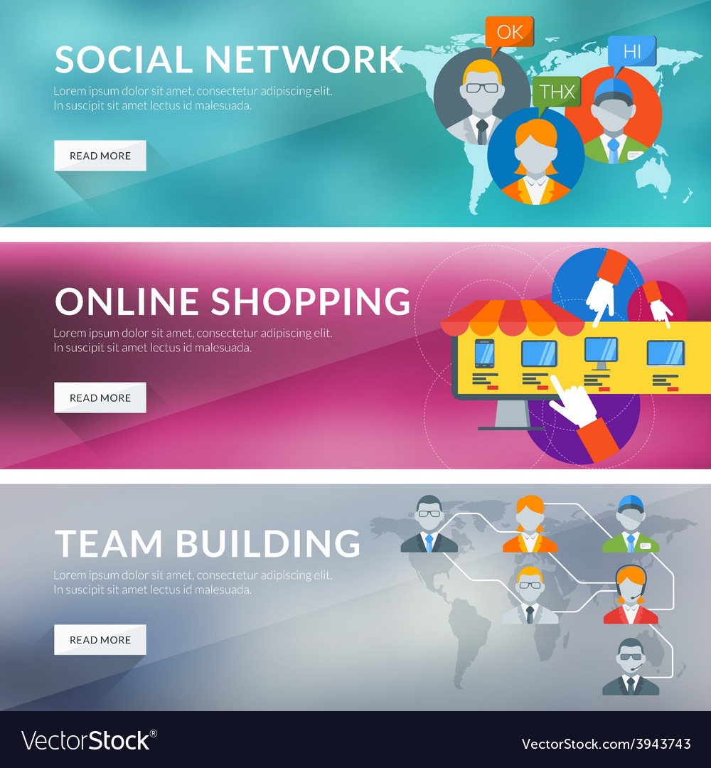 Flat design concept for social network online vector | Price: 1 Credit (USD $1)