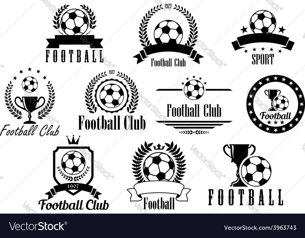 Football or soccer black and white emblems vector | Price: 1 Credit (USD $1)