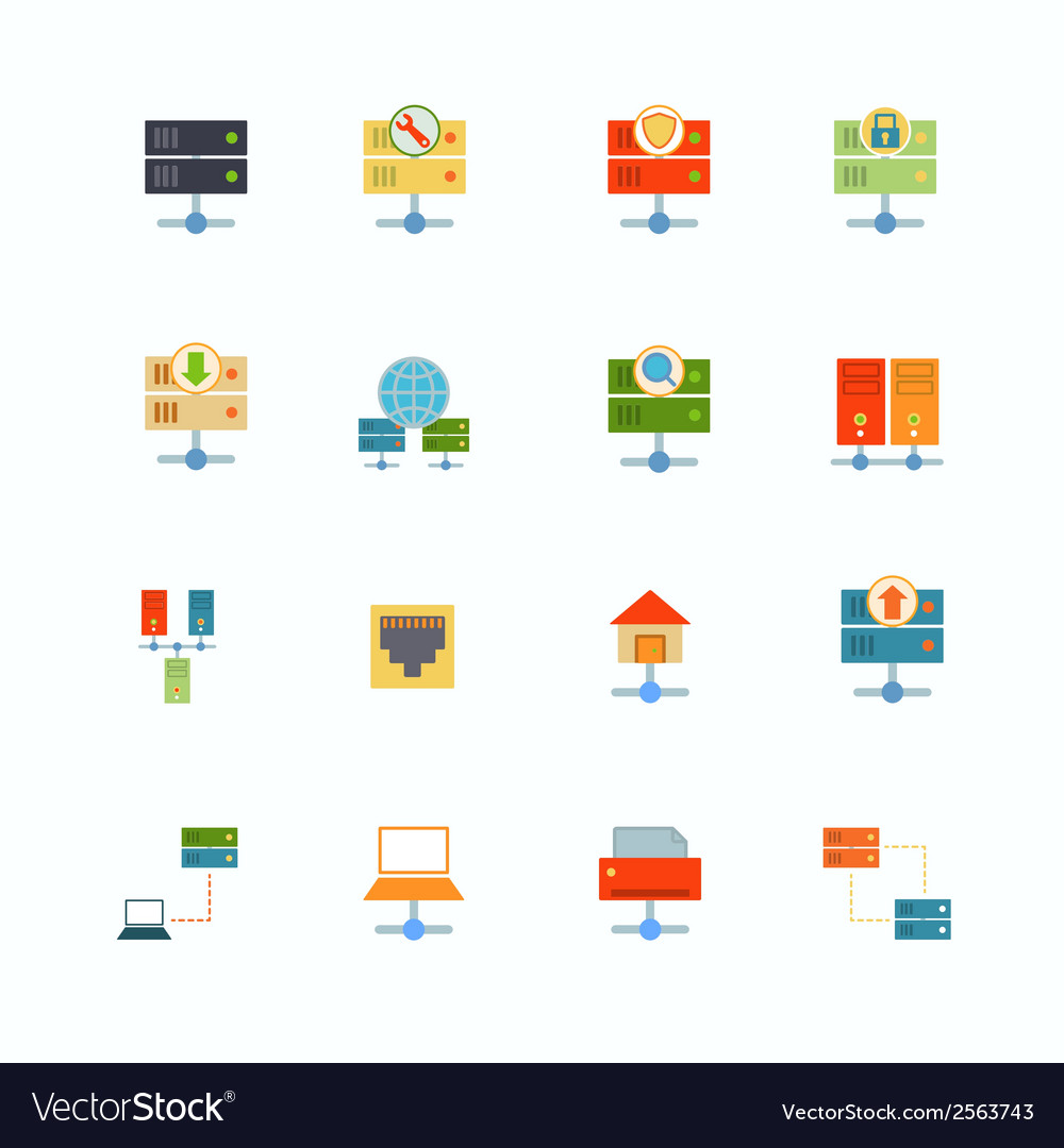 Hosting flat icons vector | Price: 1 Credit (USD $1)