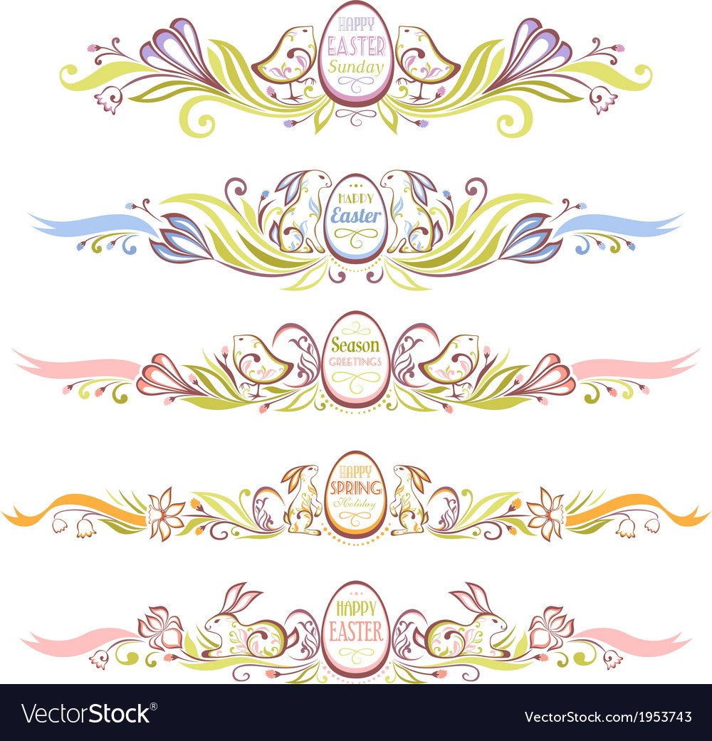 Set of easter decorative borders vector   Price: 1 Credit (USD $1)