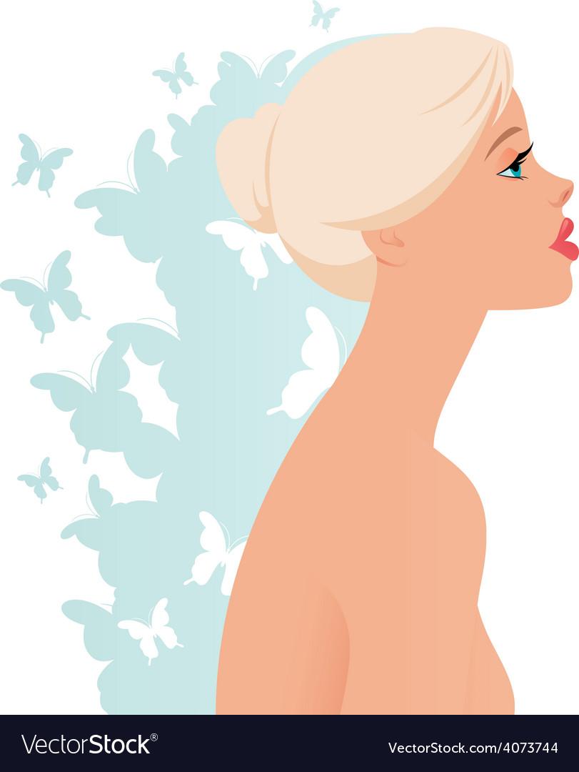 Beautiful blonde girl in profile vector | Price: 1 Credit (USD $1)