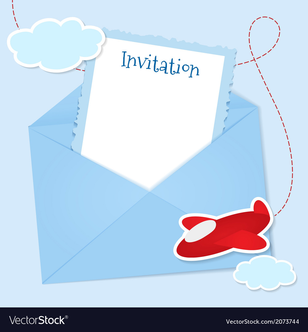 Blue invitation card with clouds and airplane vector | Price: 1 Credit (USD $1)