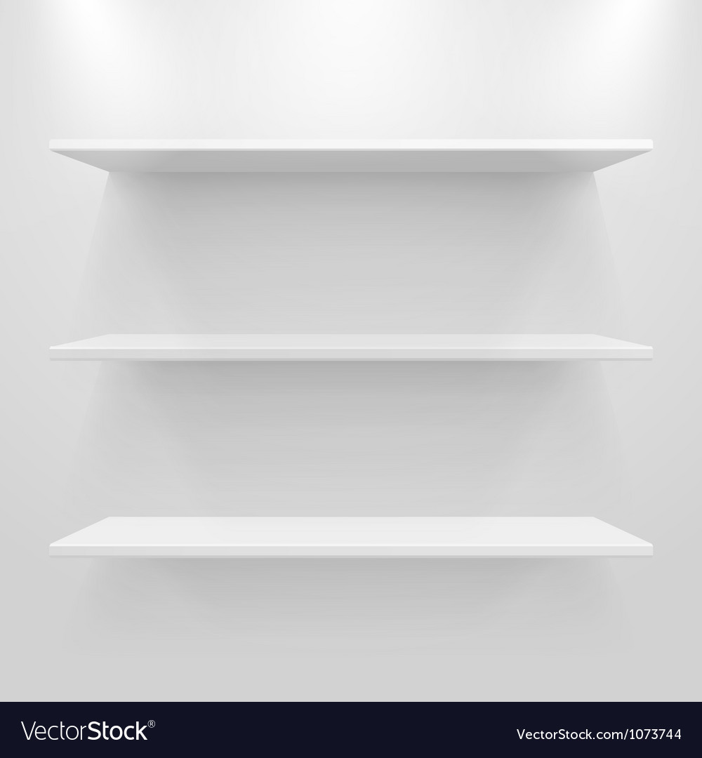 Empty white shelves vector | Price: 1 Credit (USD $1)