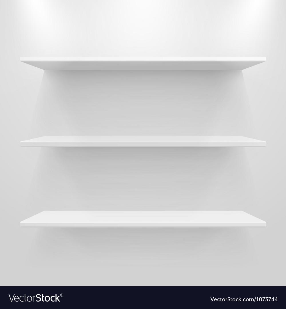 Empty white shelves vector | Price: 1 Credit (USD $1)