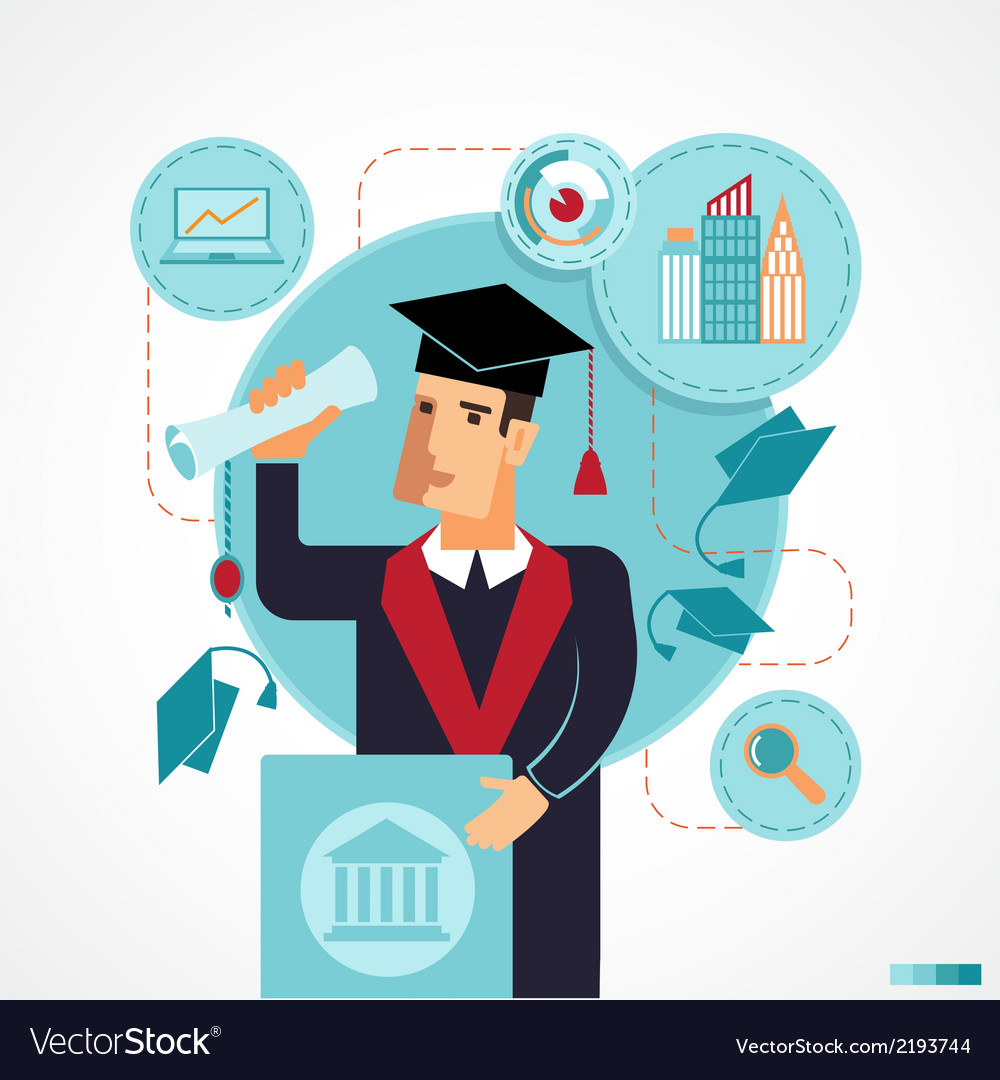 Graduate speaking at the podium speech vector | Price: 1 Credit (USD $1)