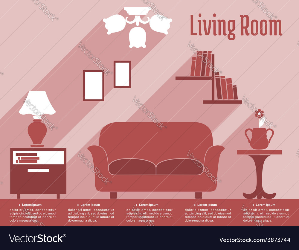 Living room interior flat infographic with text vector | Price: 1 Credit (USD $1)