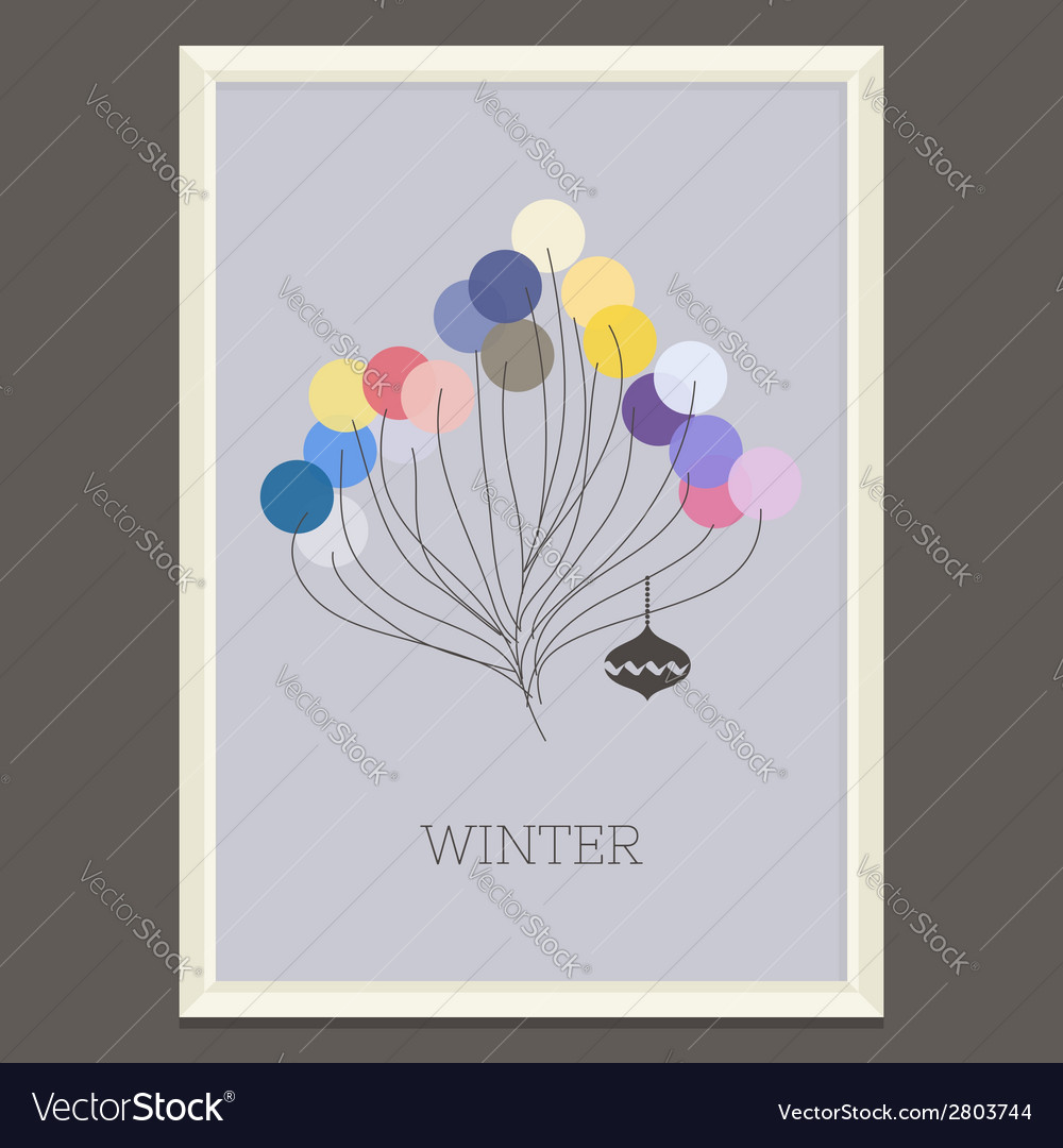 Pastel colored winter poster with christmas tree vector | Price: 1 Credit (USD $1)