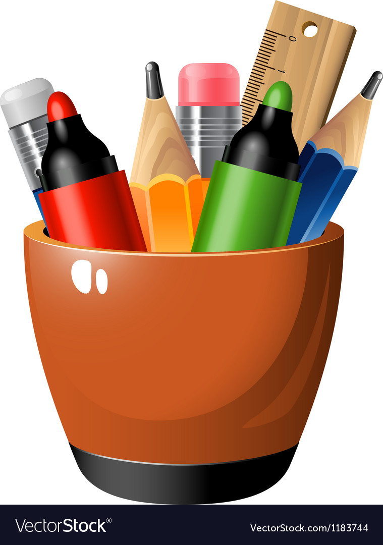 Pen container vector | Price: 1 Credit (USD $1)