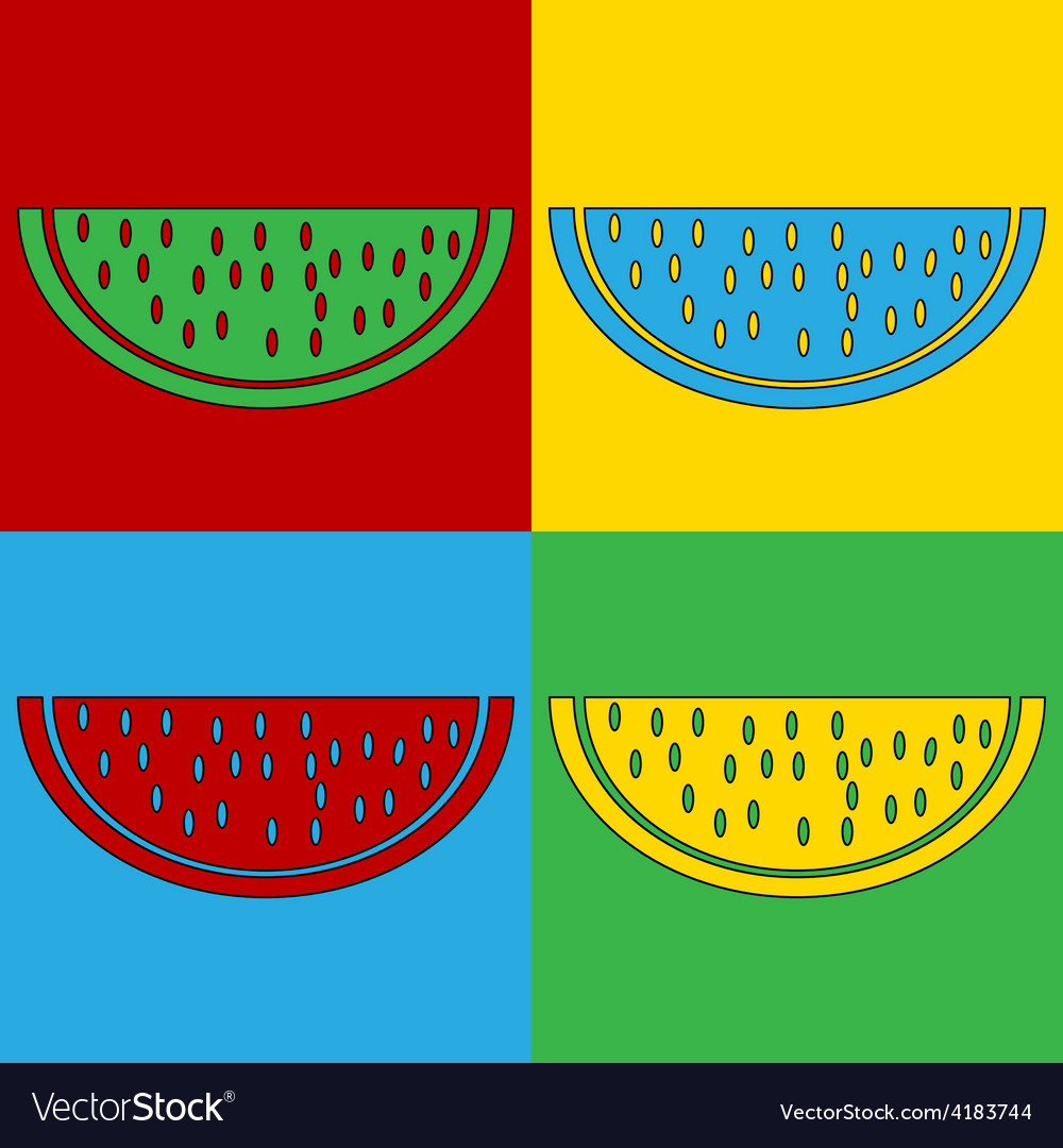 Pop art watermelon icons vector | Price: 1 Credit (USD $1)