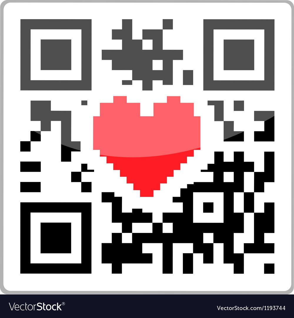Qr code heart vector | Price: 1 Credit (USD $1)