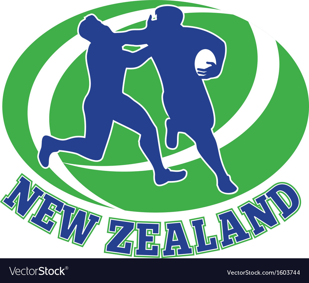 Rugby player tackle fending new zealand vector | Price: 1 Credit (USD $1)