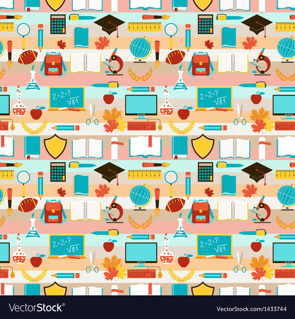 Seamless pattern with school icons vector | Price: 3 Credit (USD $3)