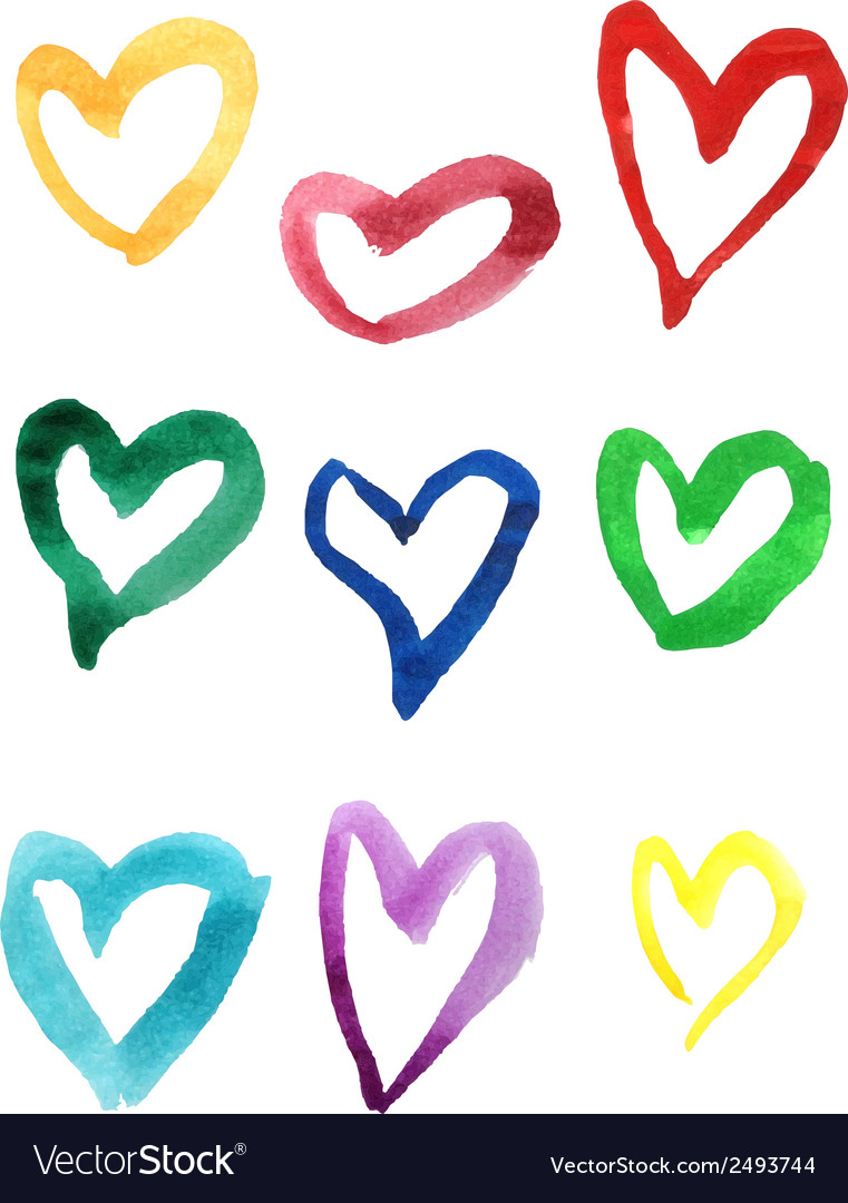 Set of colorful hand drawn watercolor hearts vector | Price: 1 Credit (USD $1)