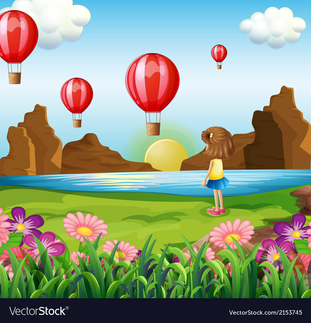 A girl watching the floating balloons vector | Price: 3 Credit (USD $3)