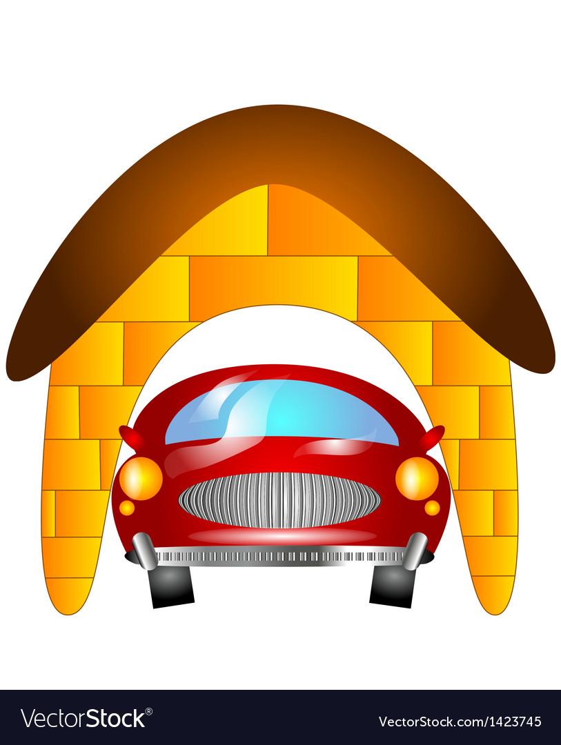 Car in garage vector | Price: 1 Credit (USD $1)