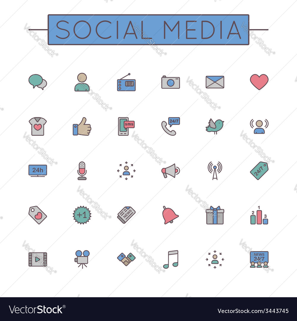 Colored social media line icons vector | Price: 1 Credit (USD $1)