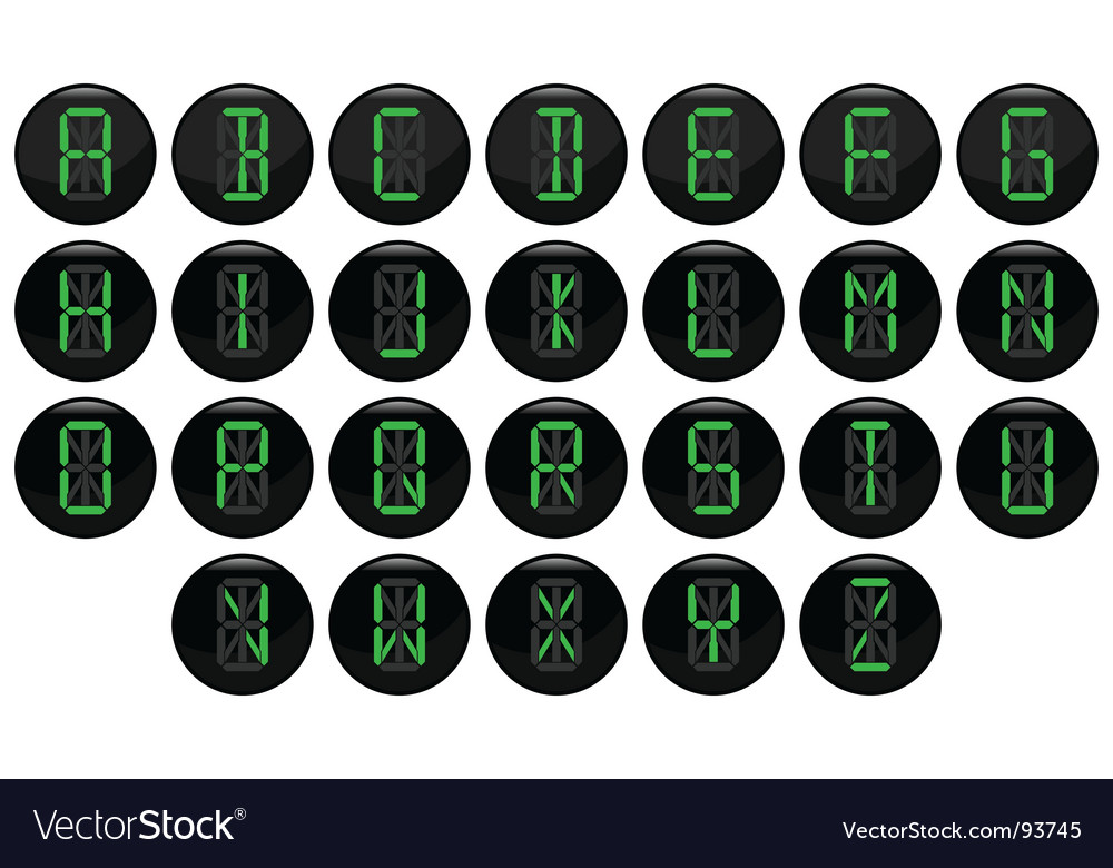 Digital letter icons vector