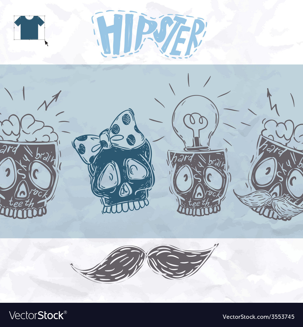 Hipster skull background vector | Price: 1 Credit (USD $1)