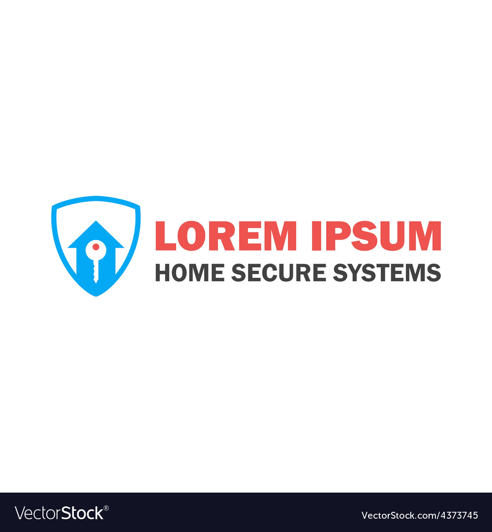 Home security logo with key vector | Price: 1 Credit (USD $1)