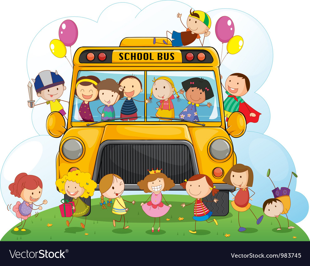 Kids with school bus vector | Price: 3 Credit (USD $3)