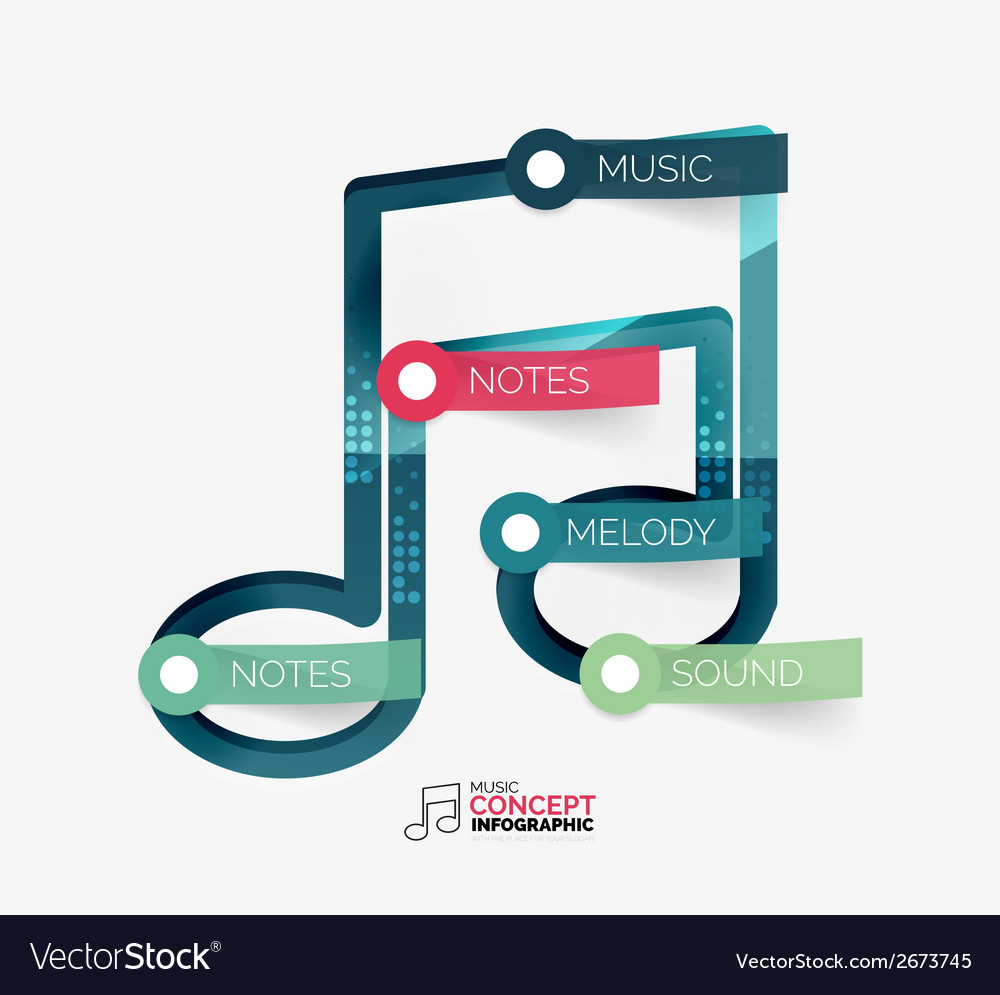 Music note infographic flat concept vector | Price: 1 Credit (USD $1)