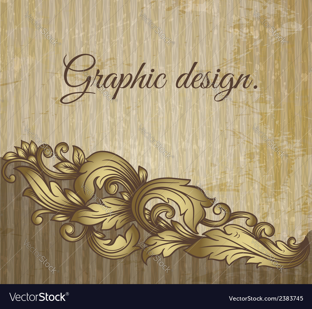 Vintage scroll pattern at grunge background vector | Price: 1 Credit (USD $1)