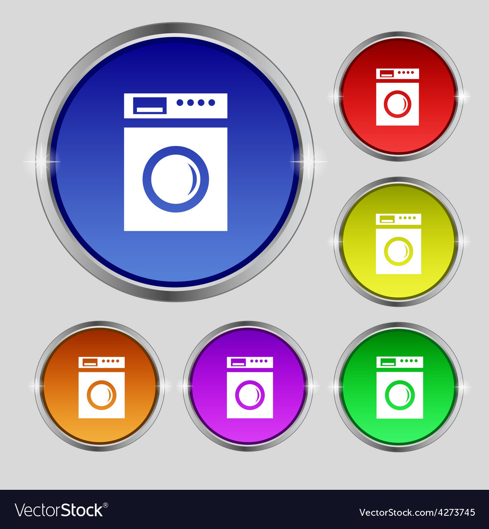 Washing machine icon sign round symbol on bright vector | Price: 1 Credit (USD $1)