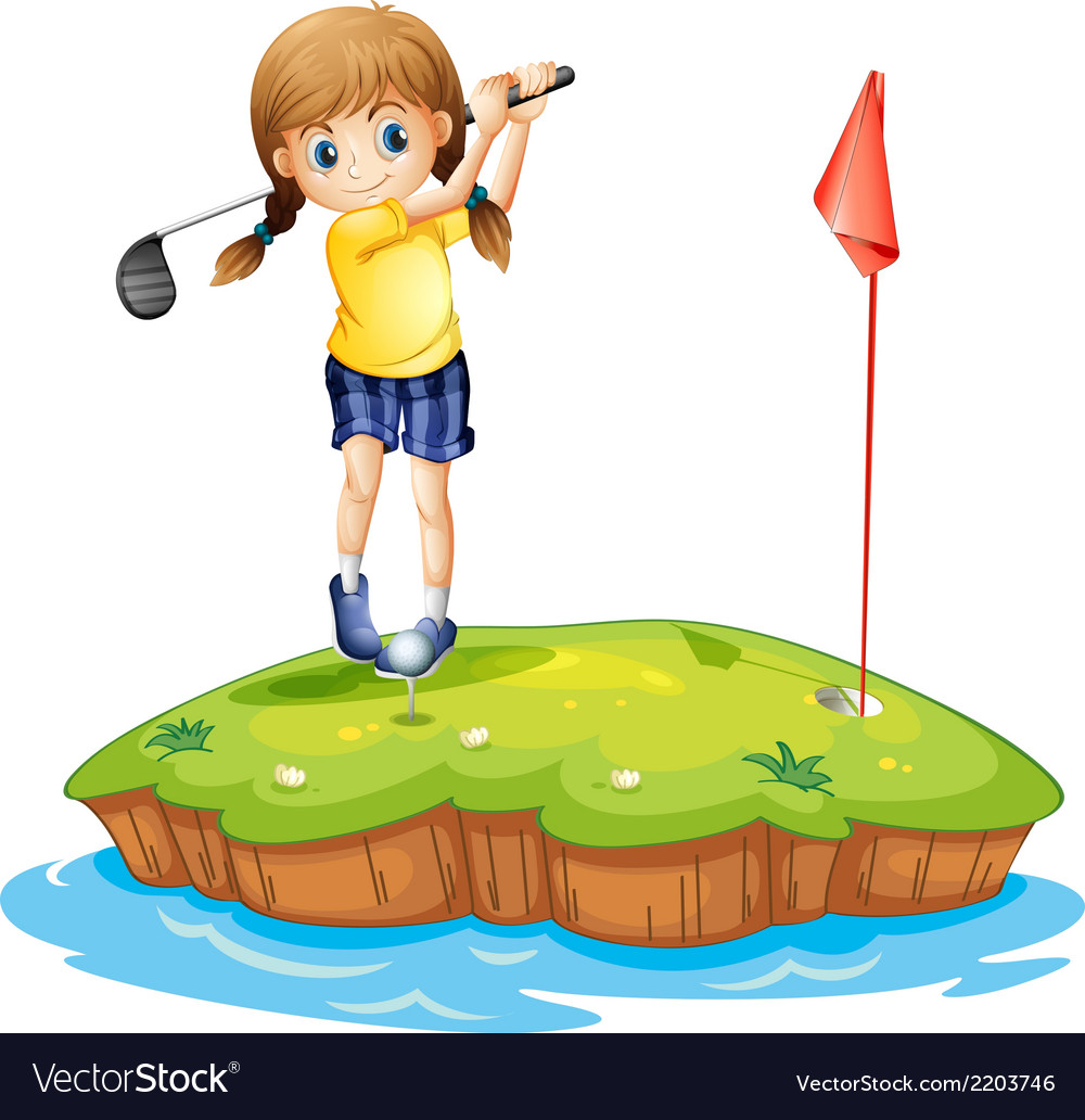 An island with a young girl playing golf vector | Price: 3 Credit (USD $3)