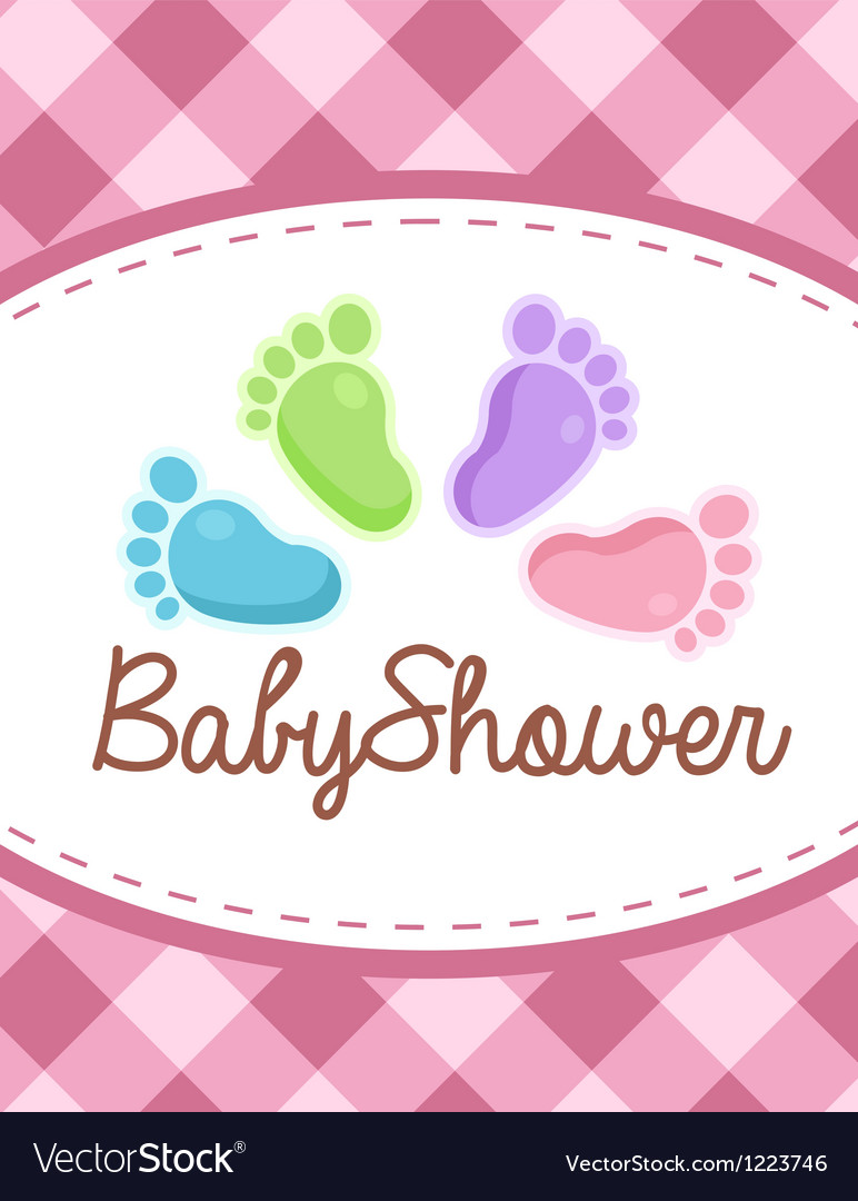 Baby shower colorful feet vector | Price: 1 Credit (USD $1)