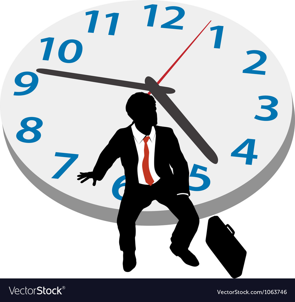 Business man wait appointment time clock vector | Price: 1 Credit (USD $1)
