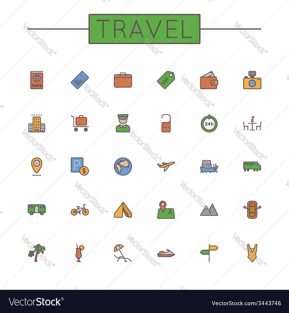 Colored travel line icons vector | Price: 1 Credit (USD $1)