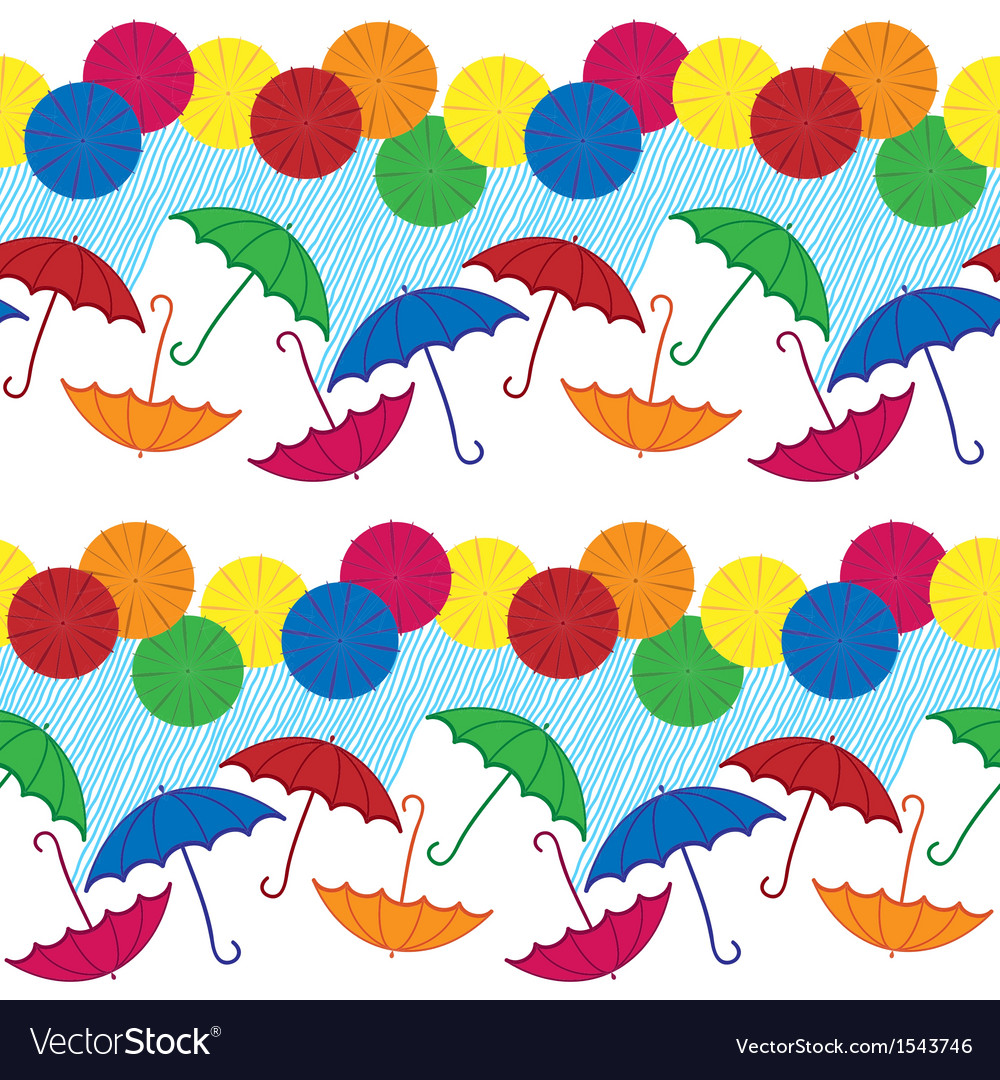Colored umbrellas with rainy weather vector | Price: 1 Credit (USD $1)