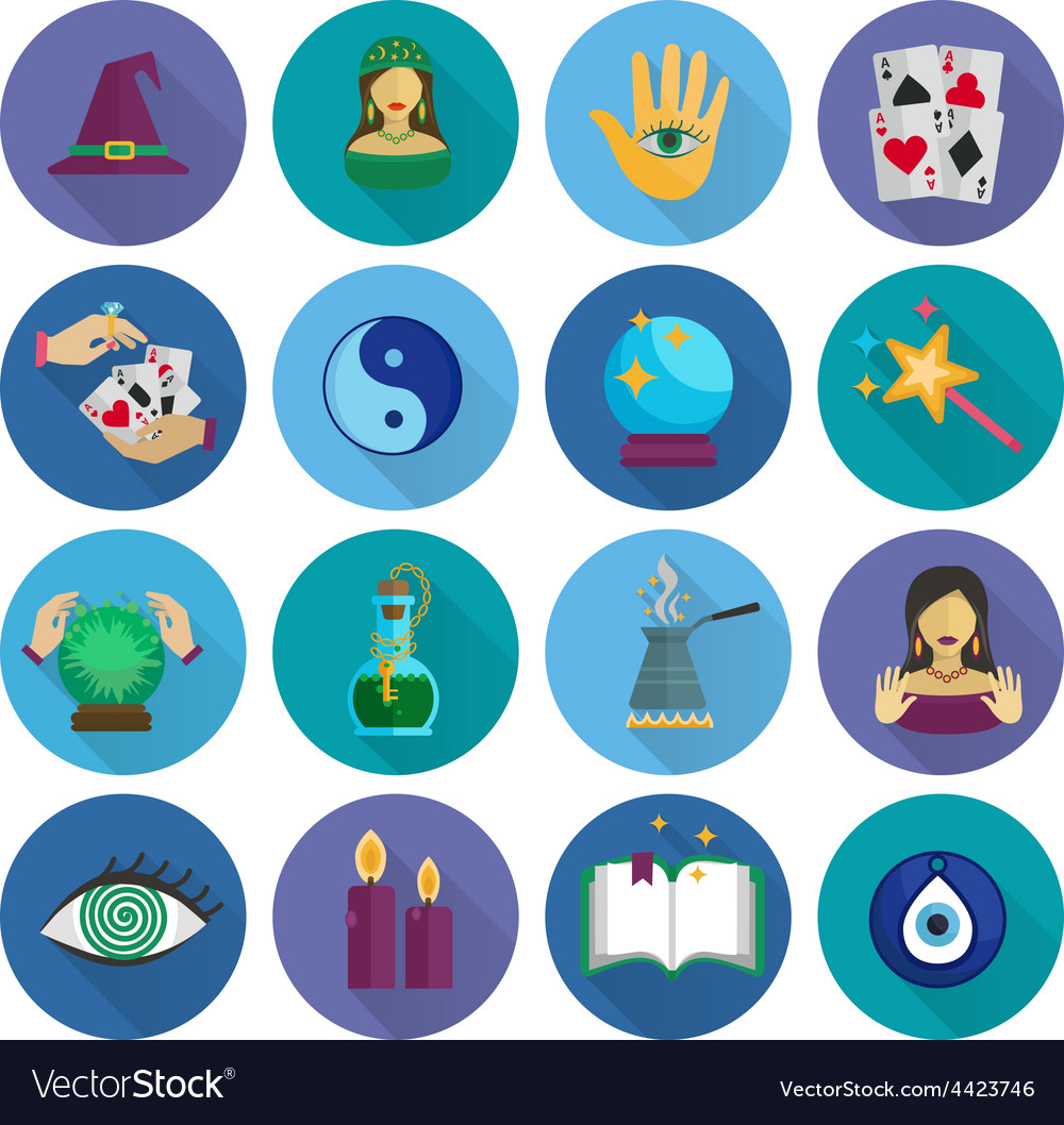Fortune teller icons flat vector | Price: 1 Credit (USD $1)